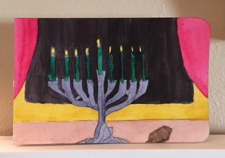 An older painting of my tiny menorah. 5031B4D9-FF89-49A8-BC39-366AAB8FE699