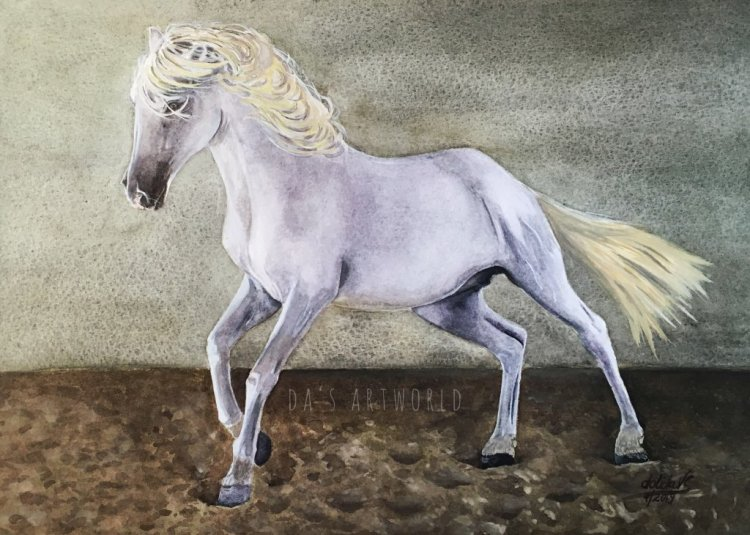 Andalusian beauty – from a reference photo by Karen Broemmelsick, Watercolor on 9x12in Bocking