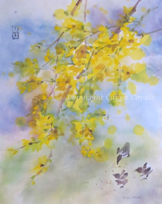 Forsythia & Chicks, Ink & Watercolor - C. Coville - Doodlewash
