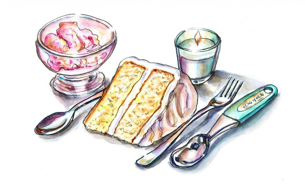 Day 13 - Birthday Cake Ice Cream Illustration Watercolor - Doodlewash