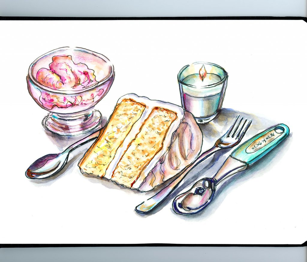 Birthday Cake Ice Cream Illustration Watercolor - Doodlewash