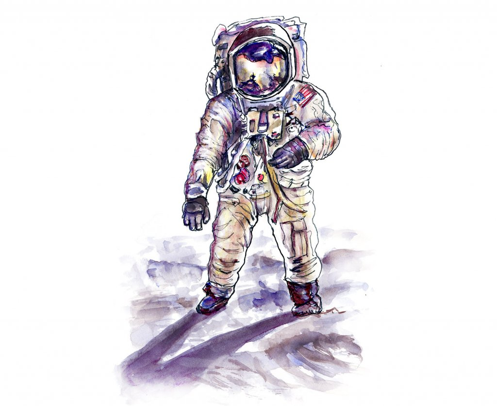 Day 17 - Neil Armstrong Astronaut Illustration - Doodlewash