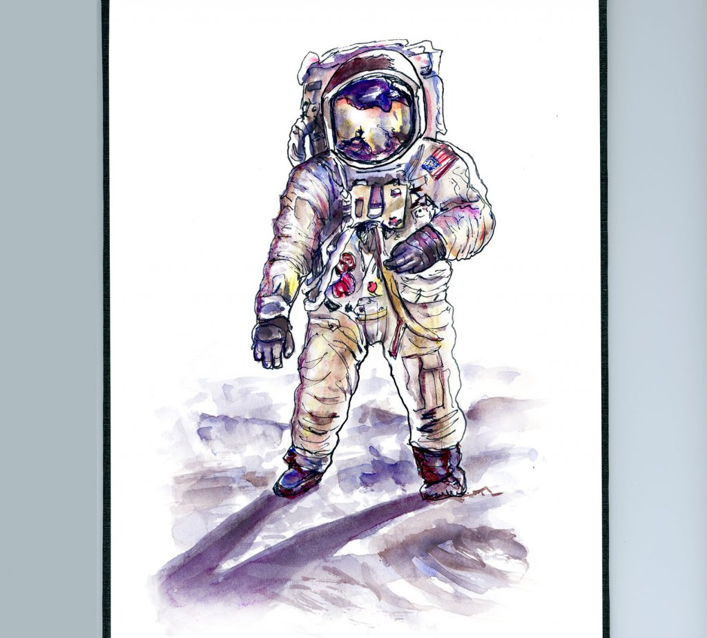 Neil Armstrong Astronaut Illustration - Doodlewash