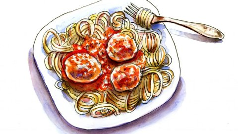 Day 19 - Spaghetti Meatballs Illustration - Doodlewash