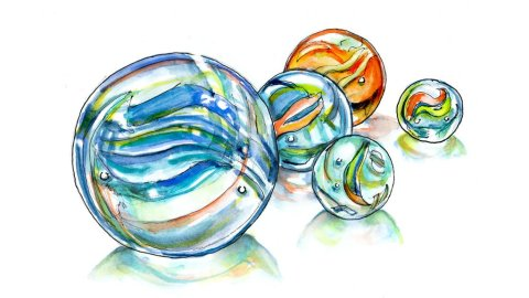 Day 2 - Marbles Watercolor Illustration - Doodlewash