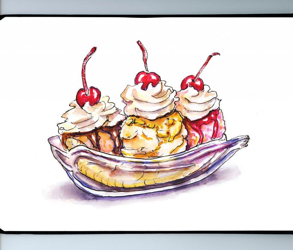 Banana Split Illustration Sketchbook Detail - Doodlewash