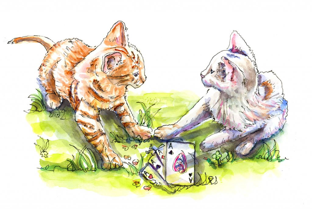 Cats Playing Poker Illustration - Doodlewash