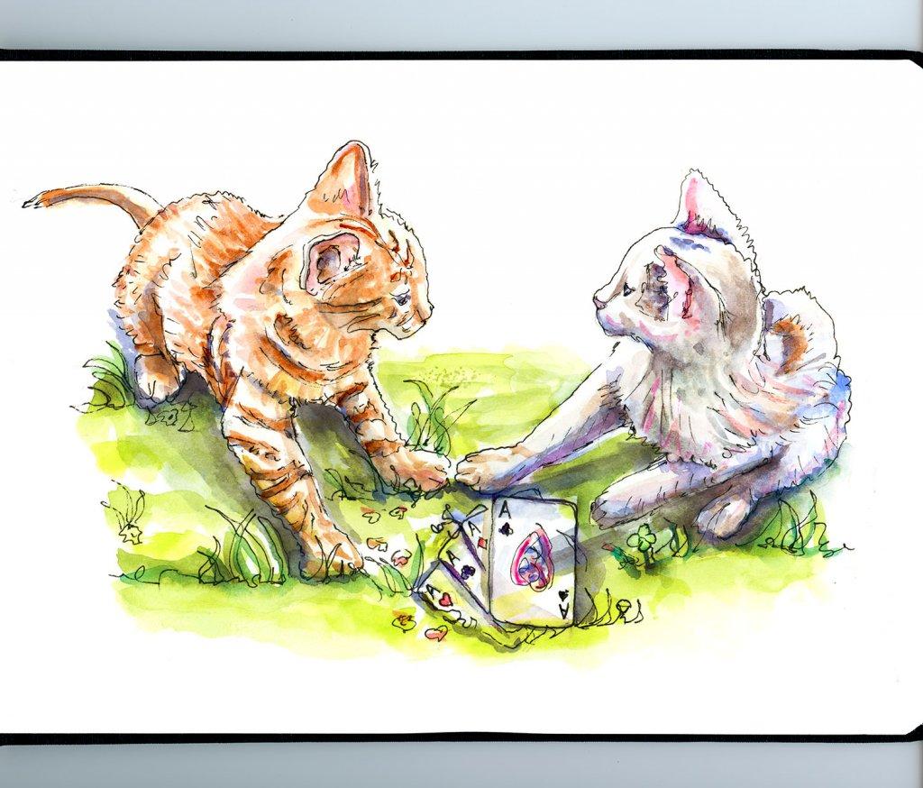 Day 26 - Cats Playing Poker Illustration - Doodlewash