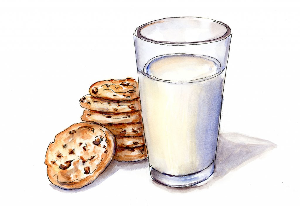 Day 30 - Chocolate Chip Cookies Milk illustration - Doodlewash