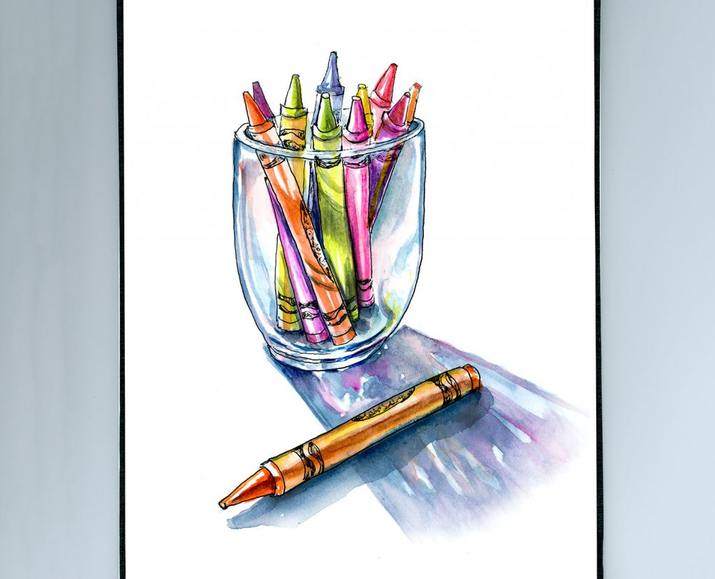 Crayons In A Glass Illustration - Doodlewash