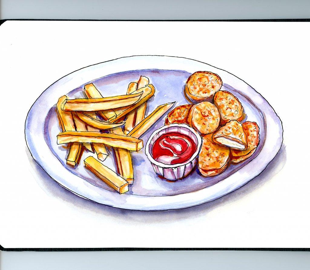 Kids Fried Food Illustration - Doodlewash