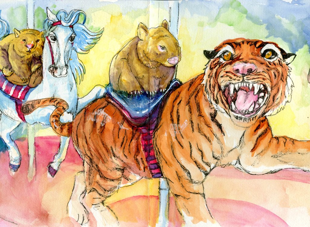Tiger Carousel Illustration - Sandra Strait - Doodlewash