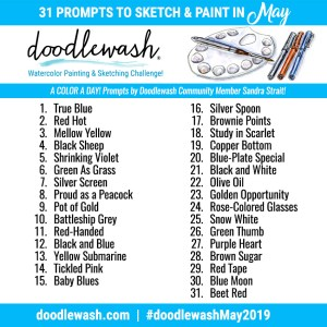 Doodlewash May 2019 Art Challenge Prompts