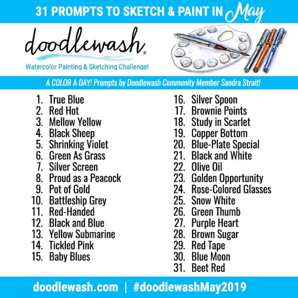 Doodlewash May 2019 Art Challenge Prompts
