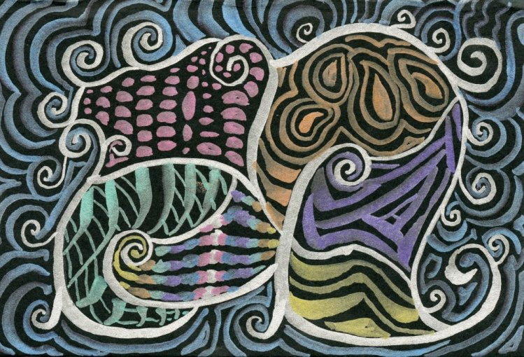 Prompt #Elephant in Metallic Swirls- Zebra Metallic Brush Pens in Hahnemühle Black book Elephant in