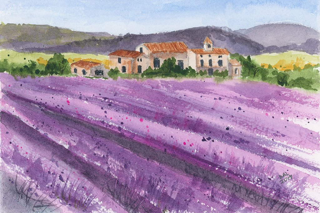 French Lavender Watercolor Painting by Bette-Ann LaBerge