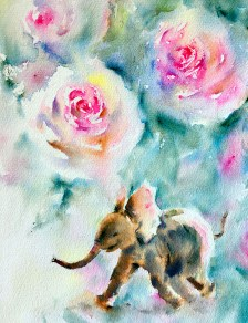 Elephant Watercolor Painting by Qinghong Wei - Doodlewash