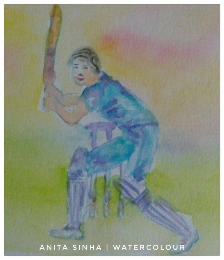 Day 10 – Playground – Cricket playground. #doodlewashApril2019 #WorldWatercolorGroup #an