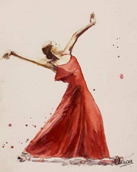 Dancer Red Dress Watercolor Painting by Ainara Martin