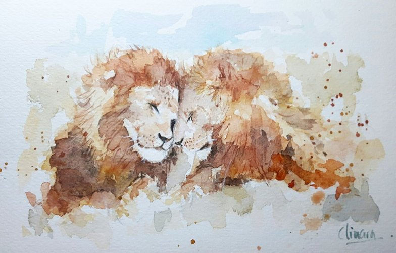 Lions Watercolor Painting by Ainara Martin
