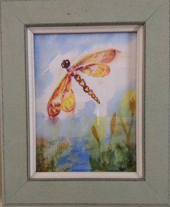 "Commissioned miniature, ""Dragonfly Dreams"" #WorldWatercolorGroupIMG_3341"