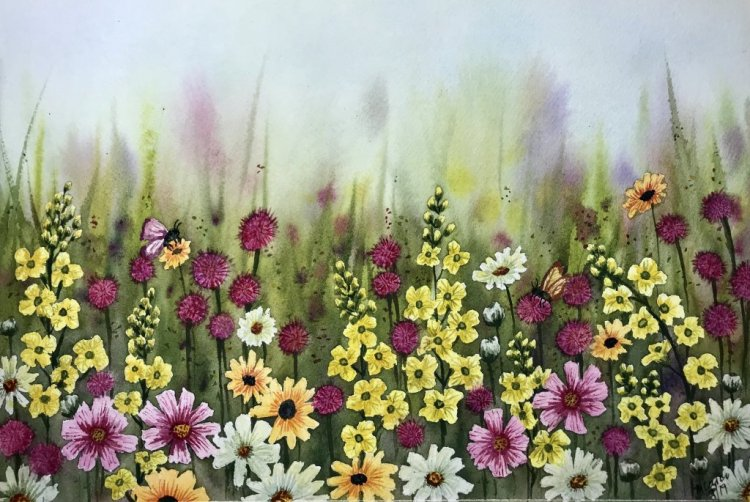 """""""Happy Days in Jeju"""" … Daniel Smith Watercolors on Arches Paper … 11″"""
