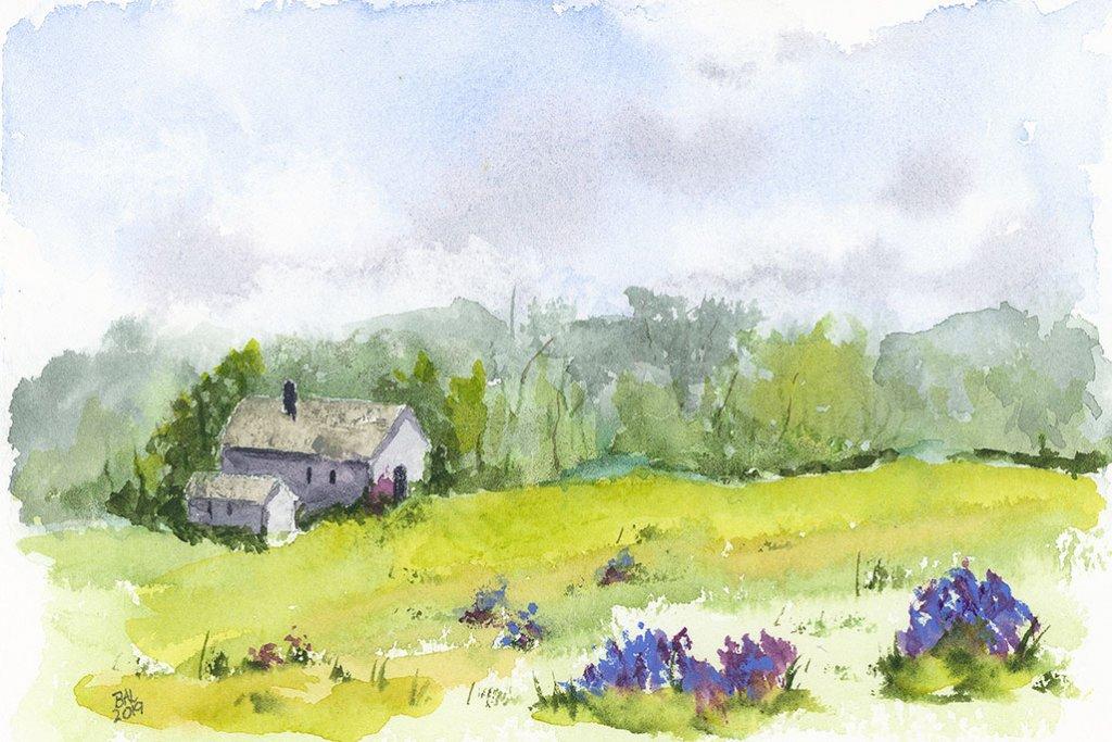 Maison De Bretagne Watercolor Painting by Bette-Ann LaBerge