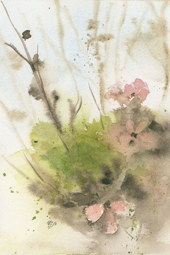 Moss And Pink Watercolor Painting by Bette-Ann LaBerge