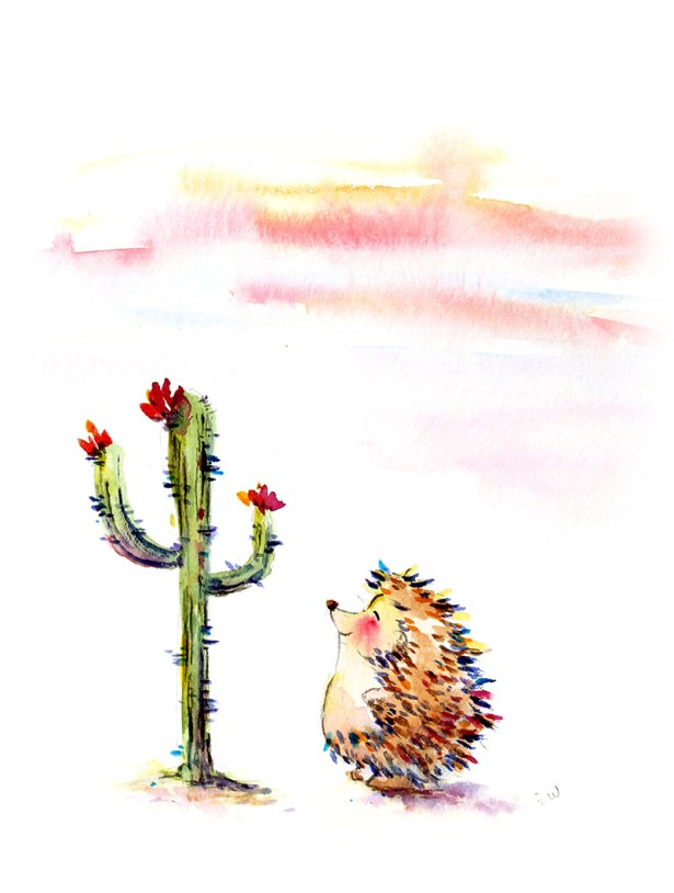 Cactus Hedgehog Watercolor Painting by Qinghong Wei - Doodlewash