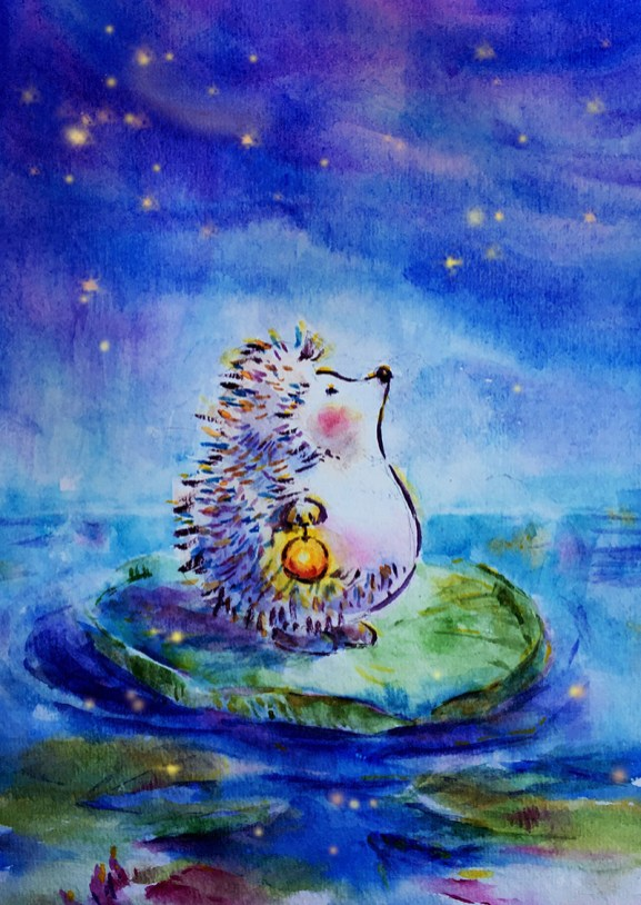 Hedgehog Watercolor Painting by Qinghong Wei - Doodlewash