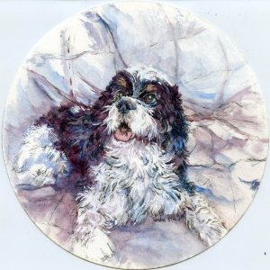 Prompt: Pets. Raider is my niece's dog. She asked me a while back to do a painting of him and
