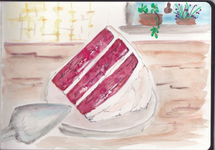 Day 13 Prompt-Cake. I am not much of a baker and my favorite cake is plain white without frosting. I