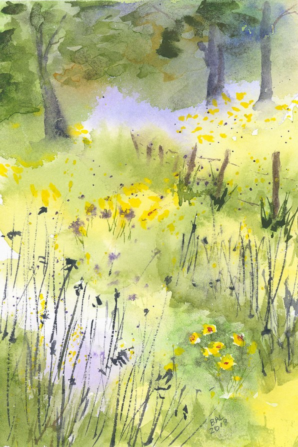 Summer Meadow Watercolor Painting by Bette-Ann LaBerge
