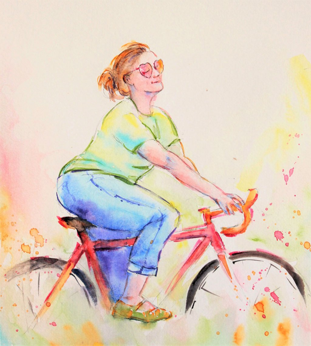 Woman On Bicycle Watercolor Painting by Qinghong Wei - Doodlewash