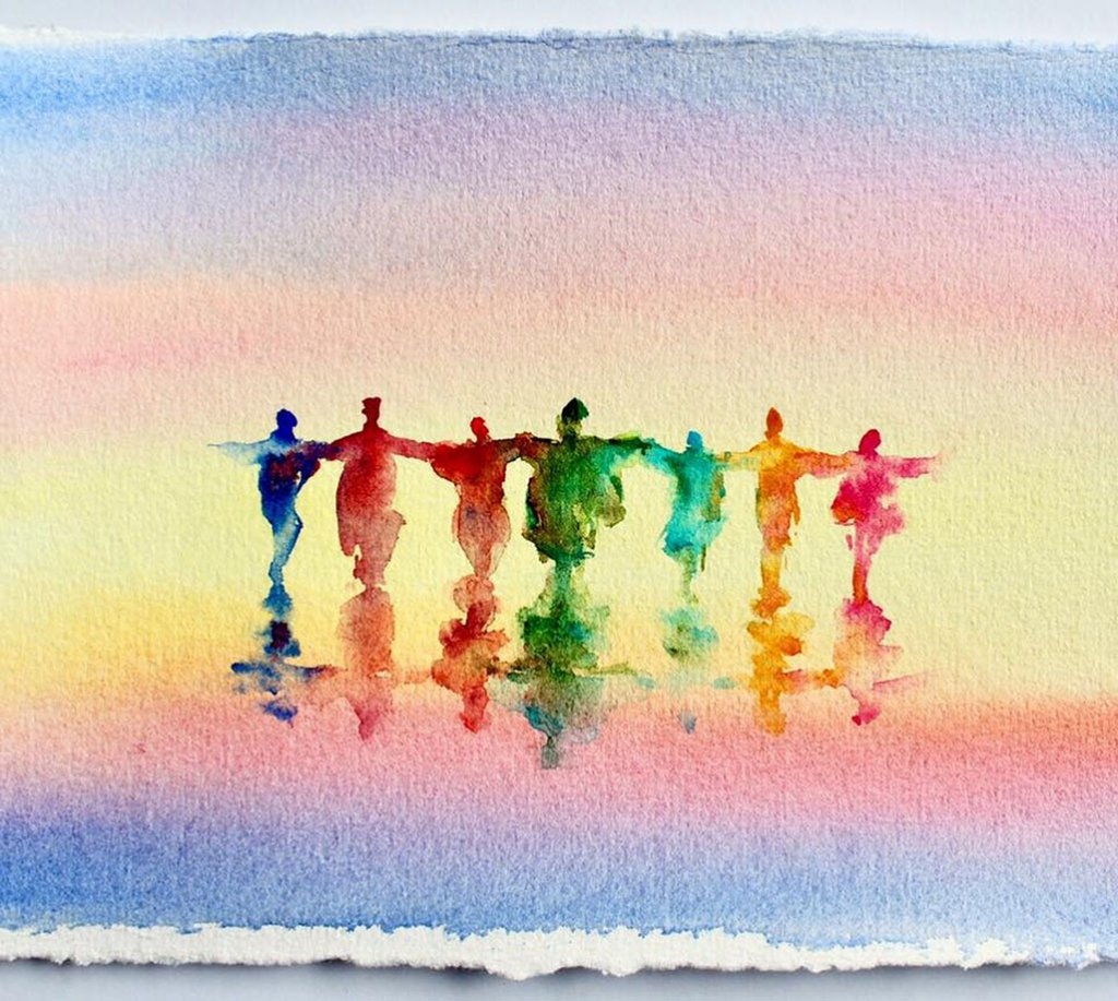 People Together Watercolor Painting by Qinghong Wei - Doodlewash