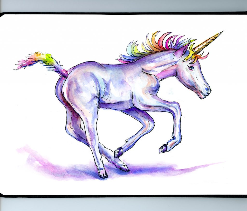 Unicorn Day Watercolor Illustration - Doodlewash