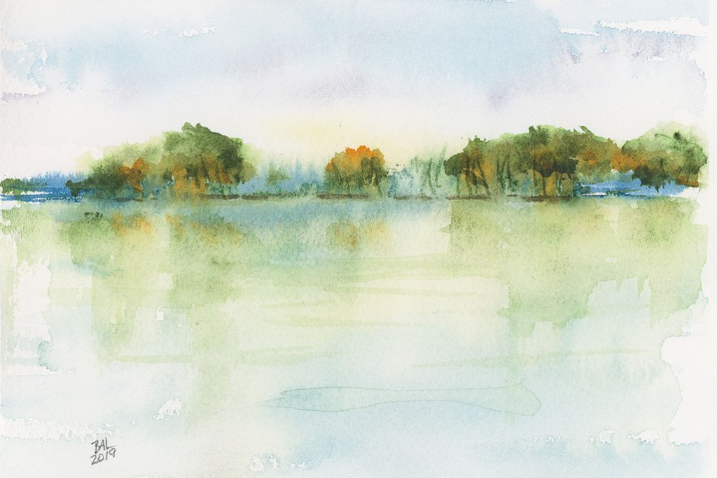 View Across The Lake Watercolor Painting by Bette-Ann LaBerge