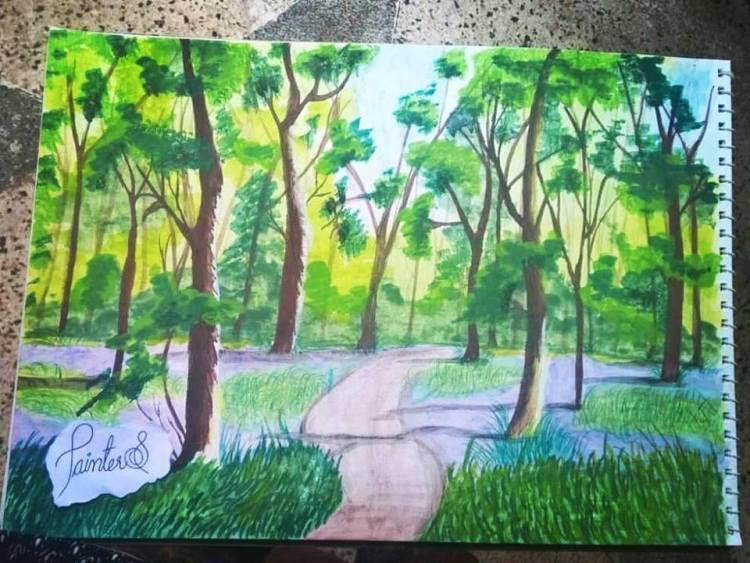#PainterS #nonstopcreative March : 30 Topic : Nature hike . #doodlewash #doodlewashed #doodlewashmar