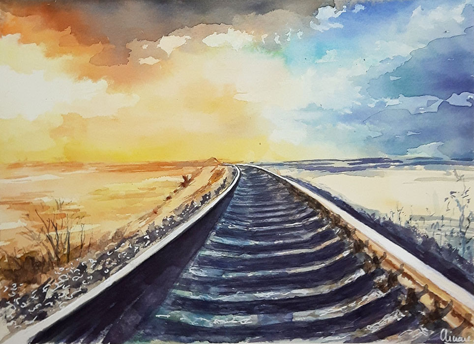 Train Tracks Watercolor Painting By Ainara Martin
