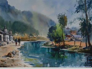 Panch Deval (Five Temple) Godavari Water color on Fabriano 15×11 inch 2018 watercolor_pachdeval