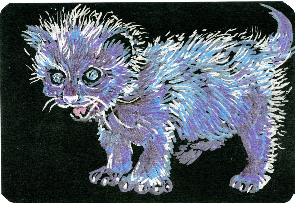 Blue Moon – Poor little kitty is certainly feeling blue, left out all alone under the moon! Ze