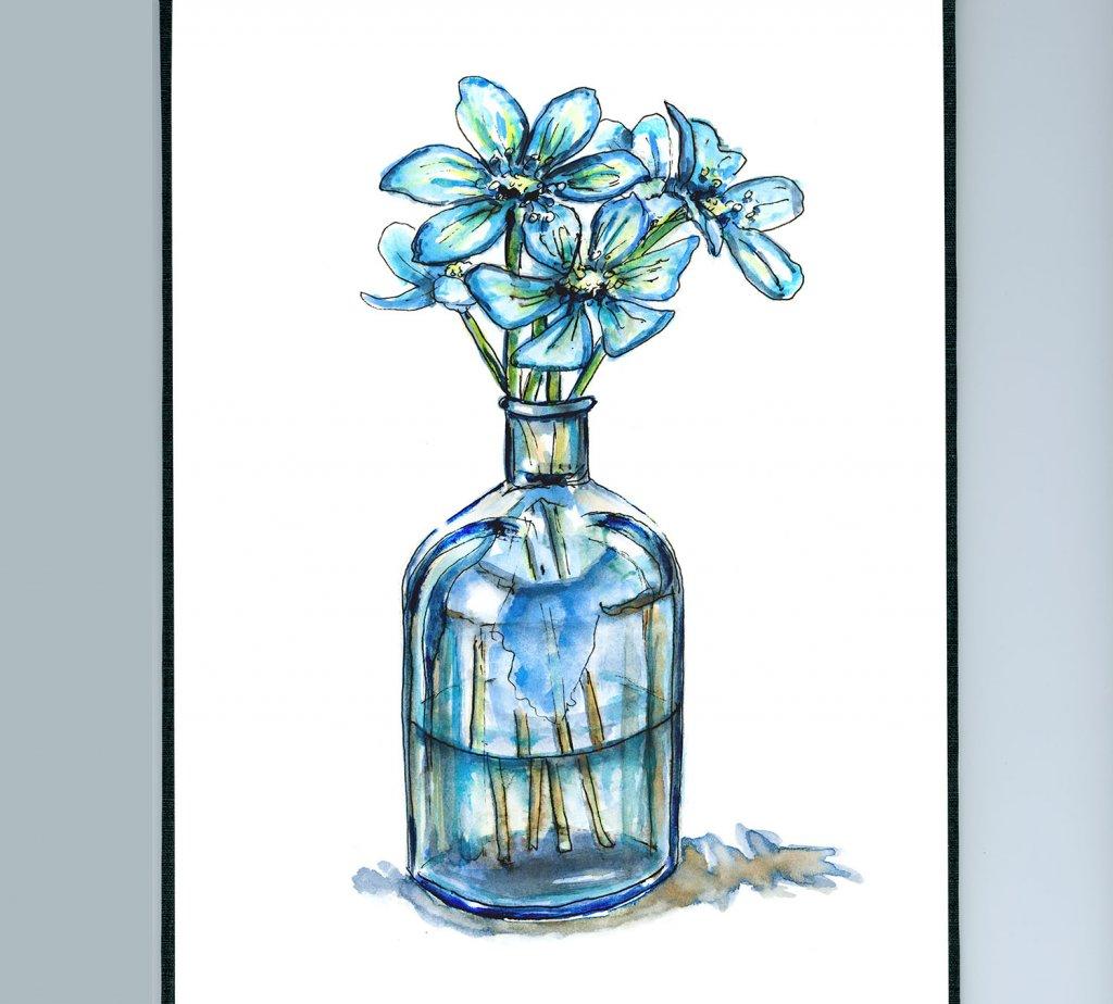 Day 1 - True Blue Flowers Vase Illustration - Doodlewash