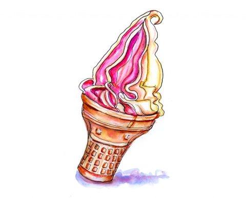 Ice Cream Cone Illustration Cherry Vanilla - Doodlewash