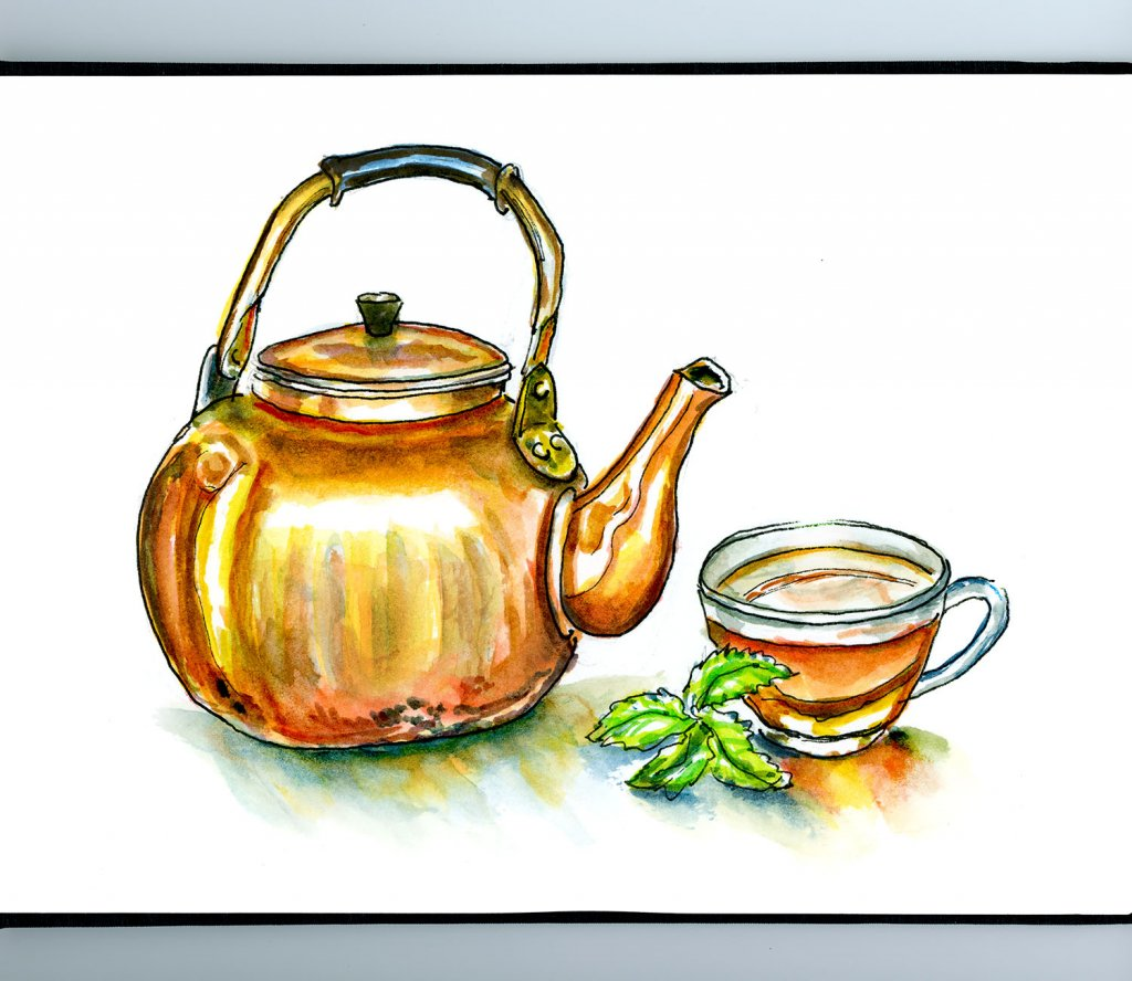 Day 9 - Gold Teapot Illustration - Doodlewash