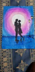 Done with oil pastels. Romantic scene drawing ever tried it first time. IMG-20190428-WA0035