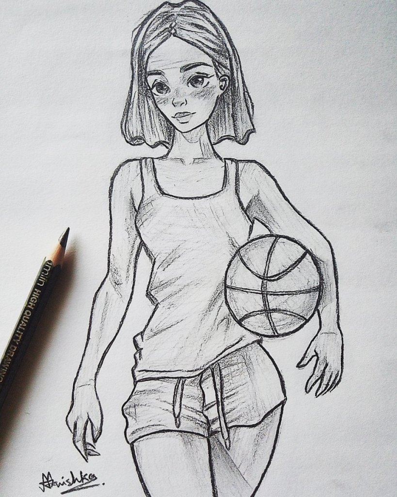 Hey guys 🤗 this is my new sketch of a girl with a basketball..😘😻✌&#xf