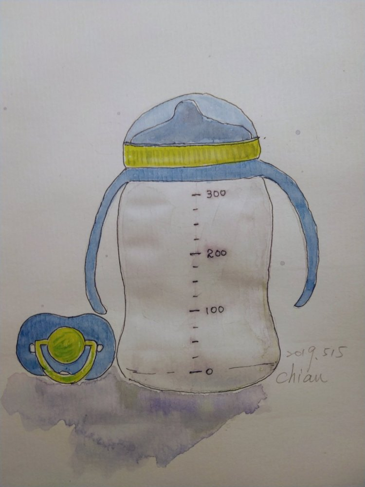 """Baby's Bottle and nipple . For today's prompt """"Baby blues"""" IMG_20190515_2242"""