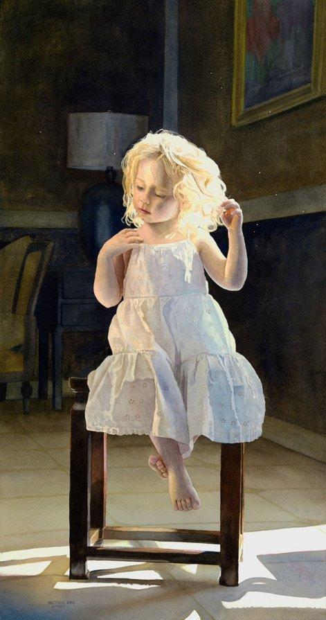 Young Girl Portrait Watercolor Painting by Matthew Bird - Doodlewash