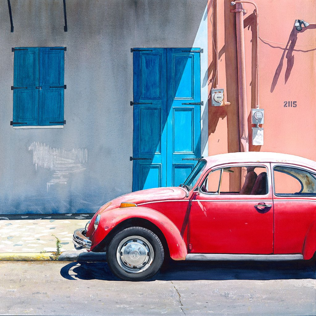 Volkwagen Bug Vintage Matthew Bird Watercolor Painting - Doodlewash