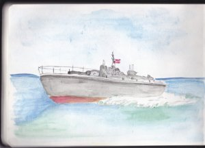 Day 10 Prompt-Battleship Grey-PT109. #doodlewashmay2019 #watercolordaily #watercolorpractice #sketch
